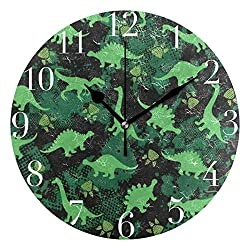 Dozili Green Dinosaur Paw Print Round Wall Clock Arabic Numerals Design Non Ticking Wall Clock Large for Bedrooms,Living Room,Bathroom