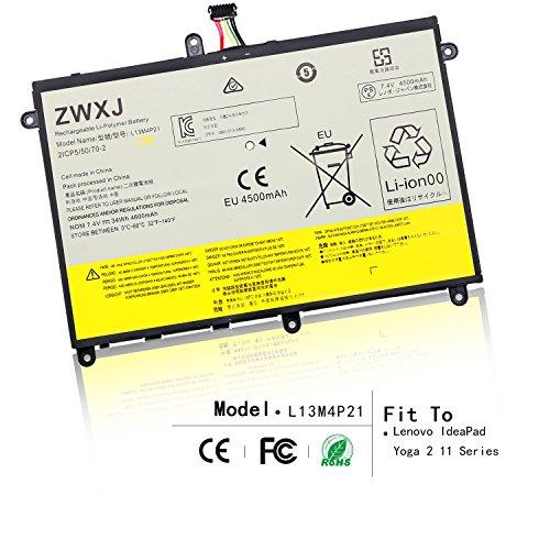 ZWXJ New L13M4P21 Laptop Battery (7.4V 34Wh 4600mAh) for Lenovo IdeaPad Yoga 2 11 Series 121500223 L13M4P21 L13L4P21 ()