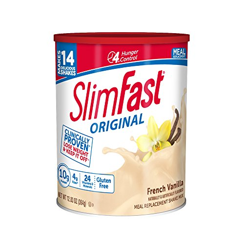 SlimFast – Original Meal Replacement Shake Mix Powder – Weight Loss Shake – 10g of Protein – 24 Vitamins and Minerals Per Serving – Great Taste – 12.83 oz. – Vanilla Creme