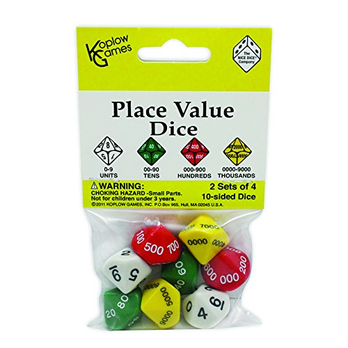 Place Value Dice; 10 Sided - 2 Sets of 4 Dice; no. (Place Value Dice)
