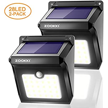 ZOOKKI Outdoor Solar Lights 28 LED 2 Pack, Solar Powered Security Lights with Motion Sensor, Wireless Waterproof Wall Lights Outside for Garden Driveway Patio Yard Deck Pathway