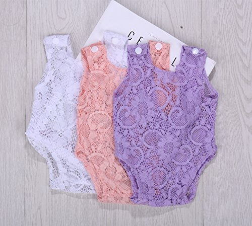 Newborn Infant Baby Photography Props Girls Lace Bow Vest Bodysuits Romper Photo Shoot Princess Clothes (Purple) by Vemonllas (Image #3)