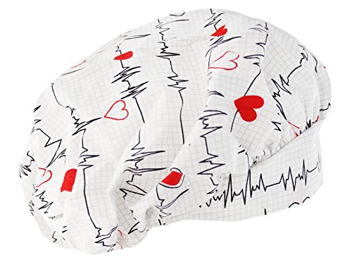 SUS Bouffant White Heart Beat EKG Scrub Cap With Adjustable Tie
