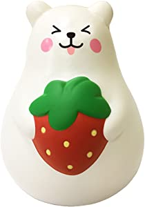 ibloom Marshmallow Bear Mr White Slow Rising Squishy Toy (Red Strawberry, Smile, 3 Inch) [Kawaii Squishies for Party Favors, Stress Balls, Birthday Gift Boxes for Kids, Girls, Boys, Adults]