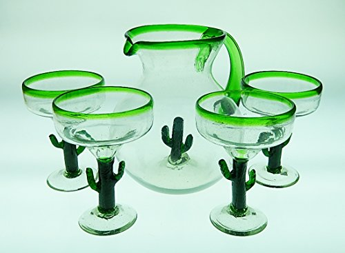 Mexican Glass Margarita Saguaro Cactus Green Rim with Matching Pitcher Set - Cactus Margarita