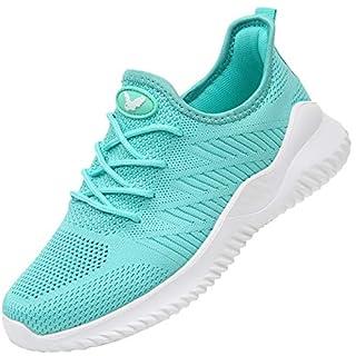 RomenSi Womens Memory Foam Slip on Walking Shoes Tennis Running Sneakers (Green US 7.5 B(M)