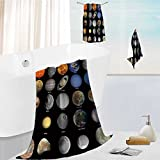 Auraise Home Premium Cotton Bath Towels Set All of the planets that make up the solar system with the sun and prominent moons Ultra Absorbent, Super Soft 19.7''x19.7''-13.8''x27.6''-31.5''x63''