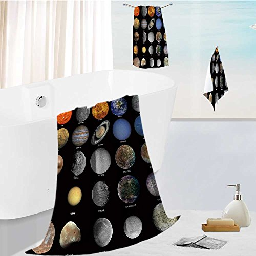 AuraiseHome Premium Cotton Bath Towels Set All of the planets that make up the solar system with the sun and prominent moons Ultra Absorbent, Super Soft 19.7''x19.7''-13.8''x27.6''-31.5''x63'' by AuraiseHome