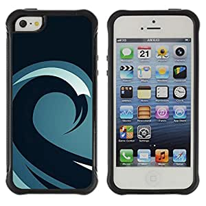 ZAAAZ Rugged Armor Slim Protection Case Cover Durable Shell - Minimalist Wave Pattern - Apple Iphone 5 / 5S
