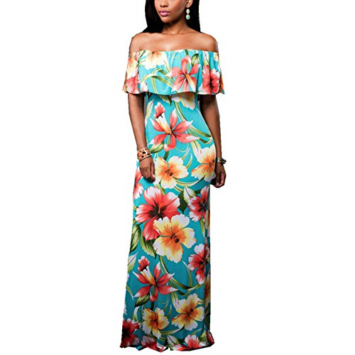 SUNNOE Womens Elegant Flowers Off Shoulder Ruffle Party Homecoming Long Maxi Bodycon Dress Beaching Dress Plus Size S-XL (X-Large, 3003print)