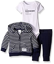 Carter\'s Baby Boys 3-Piece Short-Sleeve Safari Bodysuit, Navy Stripe, 6 Months