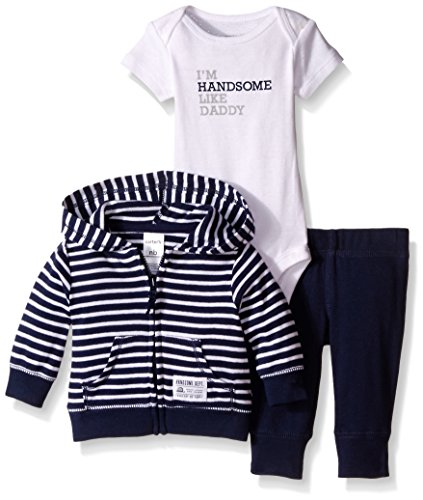 Carter's Baby Boys 3-Piece Short-Sleeve Safari Bodysuit, Navy Stripe, 6 Months ()
