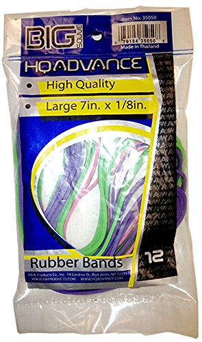 HQ Advance Products Rubber Bands, 7 x 1/8-Inch, Assorted Colors (35050.P) -
