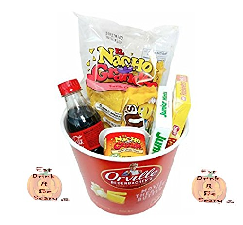 Happy Halloween Redbox Movie Night Popcorn and Candy Gift Basket ~ Includes Popcorn, Nachos and Cheese, Candy and Coke ~ Plus 2 Free Redbox Gift Cards (Chocolately)