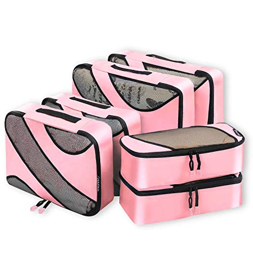 6 Set Packing Cubes,3 Various Sizes Travel Luggage Packing Organizers (Pink) (Double Rolled Handles)