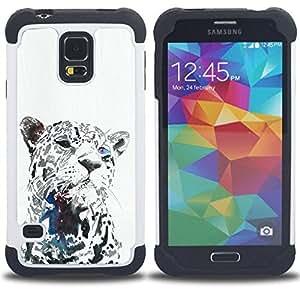 """SAMSUNG Galaxy S5 V / i9600 / SM-G900 - 3 en 1 impreso colorido de Altas Prestaciones PC Funda chaqueta Negro cubierta gel silicona suave (Leopardo Negro Animal del gato grande Bigotes"""")"""
