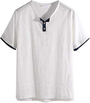 Gusspower Camiseta Algodón y Lino Color sólido Manga Corta para Hombre, Camisa de Botones Moda Tallas Grandes Casual Suelto Shirt de Collar-V Suave básica Blusa Cómodo y Transpirable Top Verano: Amazon.es: Ropa