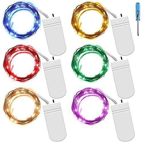 SENHAI 6 PCS Fairy String Lights 7.2ft 20 LEDs Wire Battery Powered Fairy Rope Light for Decoration (6 Colors)]()