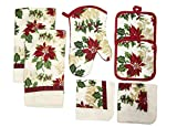 Christmas Holiday Kitchen Linen 7 Piece Towels Pot Holders Dishcloths Oven Mitt Set (Poinsettias)