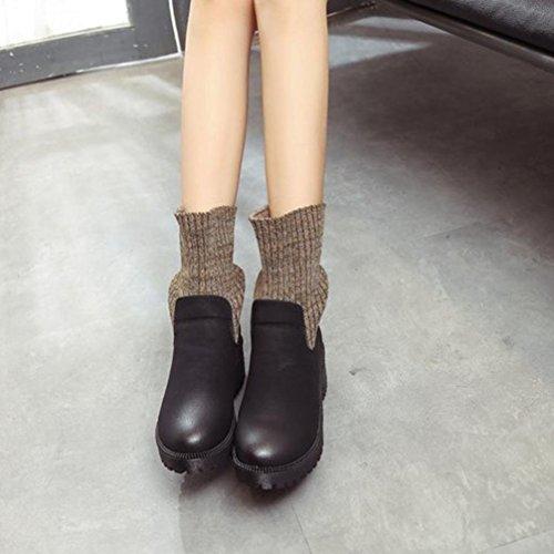Sikye Lichtgewicht Winterlaarzen Dameslaarzen Mode Ruige Elastische Laarzen Martinlaarzen Warme Schoenen Zwart