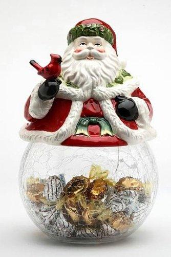 Santa Cookie Claus Jar (Cosmos Gifts 10560 Santa Cardinal Cookie/Candy Jar with Ceramic Jar, 9-Inch)