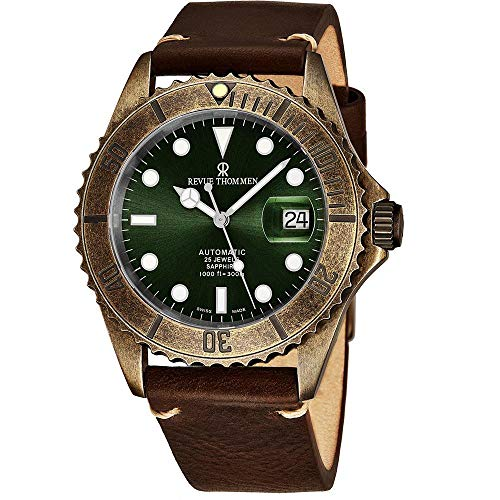 Revue Thommen Diver Mens Gun Metal Automatic Dive Watch - 42mm Dark Green Face with Luminous Hands, Magnified Date, Sapphire Crystal - Brown Leather Band Swiss Made Waterproof Diving Watch 17571.2584