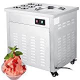 Happybuy Fried Ice Cream Machine 740W Commercial Fried Ice Cream Maker for Yogurt with 1 Pan Six Buckets Fried Ice Cream Roll Machine for Bar Dessert Shop Hotel (Single Pan)