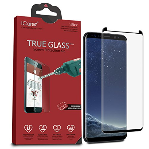iCarez [Full Coverage Black Glass ] Screen Protector for Samsung Galaxy S8 Plus (Case Friendly) Highest Quality Easy Install [ 2-Pack 0.33MM 9H 2.5D] with Lifetime Replacement Warranty