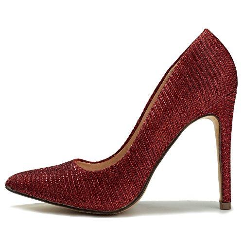 Élégante Escarpins Leroy Femme Rouge Travail de Fête Pointue Chaussures Alexis Stiletto 4gOpAn