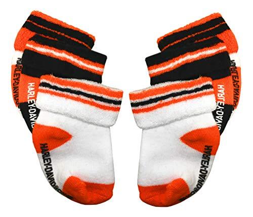 Harley Davidson Kids Bedding - Harley-Davidson Baby Boys' Socks, Three Pack, Orange/Black/White S9ABI63HD