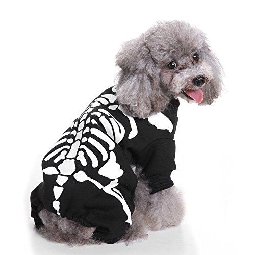 KeeKit Dog Puppy Pet Cat Halloween Glow Skeleton Bone Special Clothes Costume Jumpsuit (Uniqe Halloween Costumes)