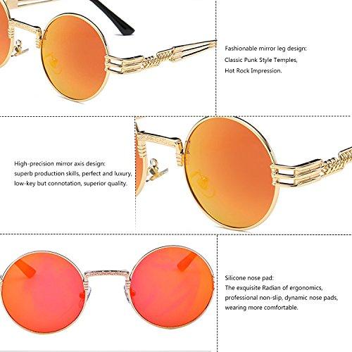 Vintage TEMPO and Frame Metal with Polarized Round Gold Steampunk Frame Glasses Men Spring Sunlasses Black Gold Lens Orange Frame Driving Women for Frame Lens fx6Xr65P