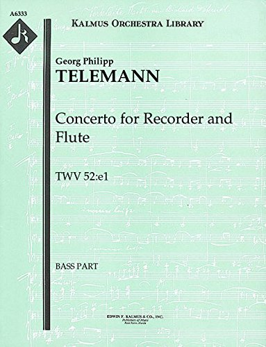 Concerto for Recorder and Flute, TWV 52:e1: Bass part (Qty 3) [A6333] ()