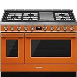 Smeg Portofino Pro-Style Aesthetic Series 48-Inch Freestanding Dual Fuel Range (Orange)