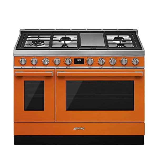 Smeg Portofino Pro-Style Aesthetic Series 48-Inch Freestanding Dual Fuel Range (Orange) 1