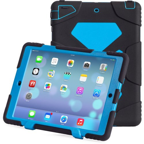 iPad Air 2 Case,iPad 6 Case, Aceguarder New Design [Kids-proof][Shockproof] [Scratch proof] [Drop Resistance] [Impact Resistant] Super Protection Cover Case iPad Air 2 (iPad 6) (2014)-Black/Blue
