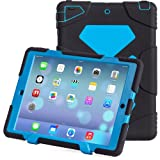 iPad Air 2 Case, iPad 6 Case, ACEGUARDER® [Shockproof] [Heavy Duty] [Military] Extreme Tough & Drop Resistance Soft Silicone Case with Kickstand for Apple iPad Air 2. (Whistle + Stylus Pen + Carabiner) (Black/Blue)