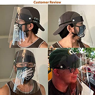 Random Color Exceart 6Pcs Full Face Protective Visor Safety Face Shield Spittle-proof Face Guard Windproof Anti-fog Protective Facial Cover Cap for Adult