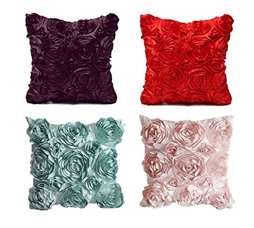 SeptCity-Decorative-Throw-Pillow-Covers-for-Couch-Cushion-Case-Romantic-Love-Satin-Rose-Wedding-Party-Home-Decor-Home-Gift-Set-of-2