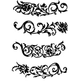 "Clear stamp (1"" x 2.25"") FLONZ clingy acrylic stamp // Damask Floral patterns set of 4"