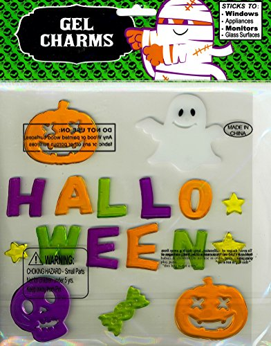 Multicolored Word Halloween and Ghost Skull Jack-O-Lanterns Gel Window Clings]()
