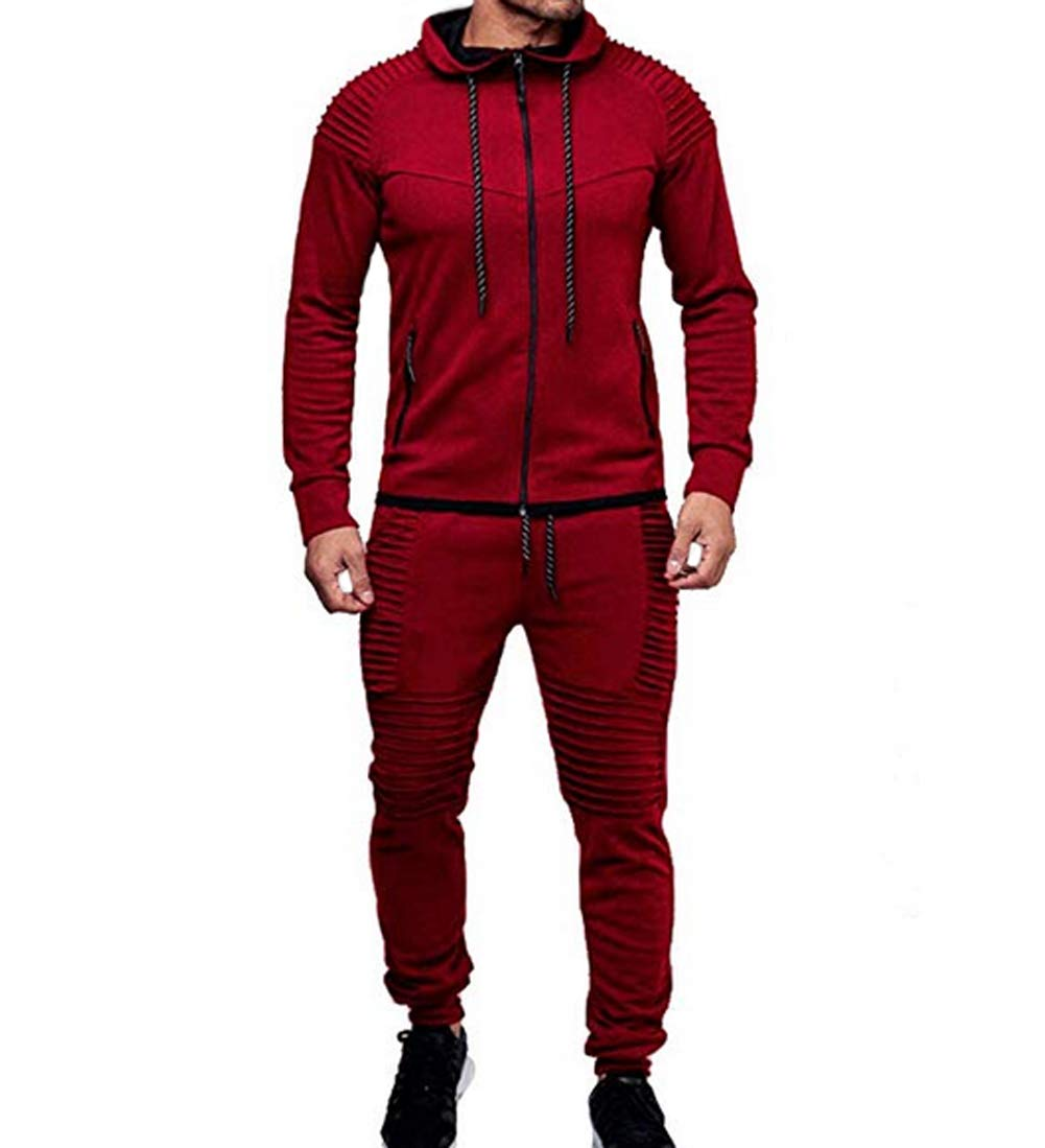 Men's Tracksuit Set Camouflage Sweatshirt Jogger Sweatpants Solid Patchwork Warm Sports Suit (Solid Red, M) by lisenraIn