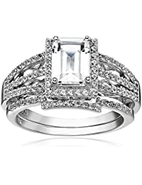 Sterling Silver Emerald Cut Gemstone Engagement Ring Set, Size 7