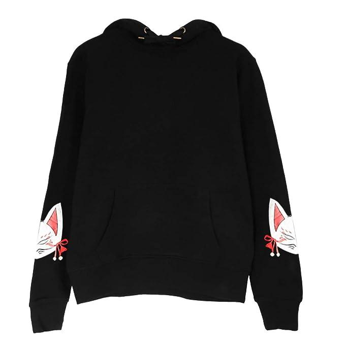 Fgfghbfhrger Casual Fox Impreso Manga Larga Color sólido Cordón Negro Sudadera con Capucha Mujeres Sudadera con Capucha Tops Sudadera Camisetas de: ...