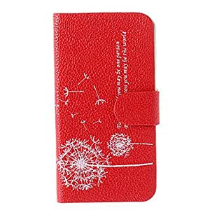 Dandelion Pattern PU Leather Full Body Case for iPhone 4/4s(Assorted Color) , Black