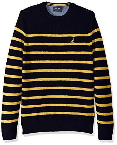 Nautica Men's Long Sleeve Striped Crew Neck Sweater, Mustard Field, Medium