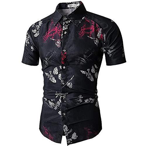 Black Large Men's Basic Shirt  Geometric