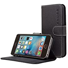 iPhone 5/5S Case, Snugg - Black Leather iPhone 5/5S Flip Case [Lifetime Guarantee] Premium Wallet Phone Cover with Card Slots for Apple iPhone 5/5S