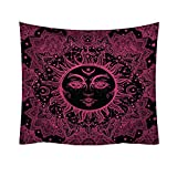 AKwell Tapestry Sun and Moon Tapestry Wall Hanging Fractal Faces Hippie Wall Tapestry Black & White Celestial Tapestry Indian Hippy Bohemian Mandala Tapestry