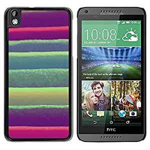 Be Good Phone Accessory // Dura Cáscara cubierta Protectora Caso Carcasa Funda de Protección para HTC DESIRE 816 // Stripes Green Pink Purple Fabric Textile